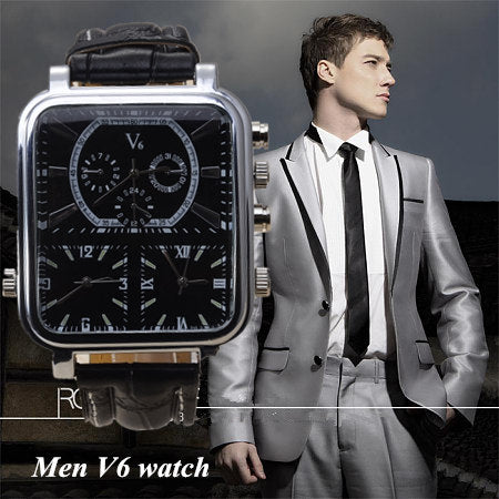 Men's V6 Big Rectangle Dial Quartz Leather Watch