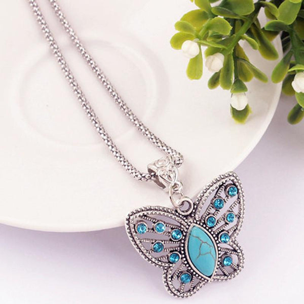 Silver Pendant Necklace Crystal Butterfly Natural Stone