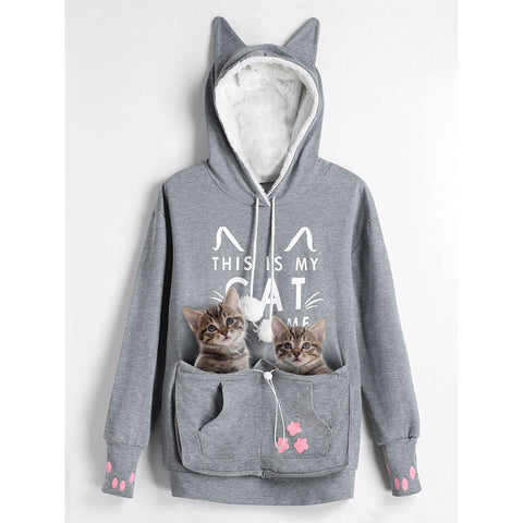 Cat Pouch Pocket Hoodie - Gray