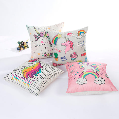 Unicorn Linen Throw Pillow Case