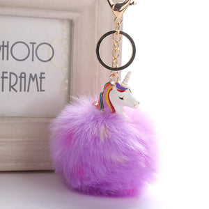 Unicorn Fluffy Fur PomPom Keychains V1