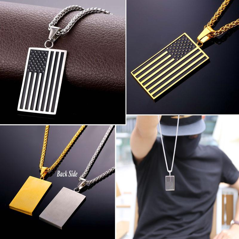 flag necklace accessories s links fashion new chain silver usa pendant metal men american products long