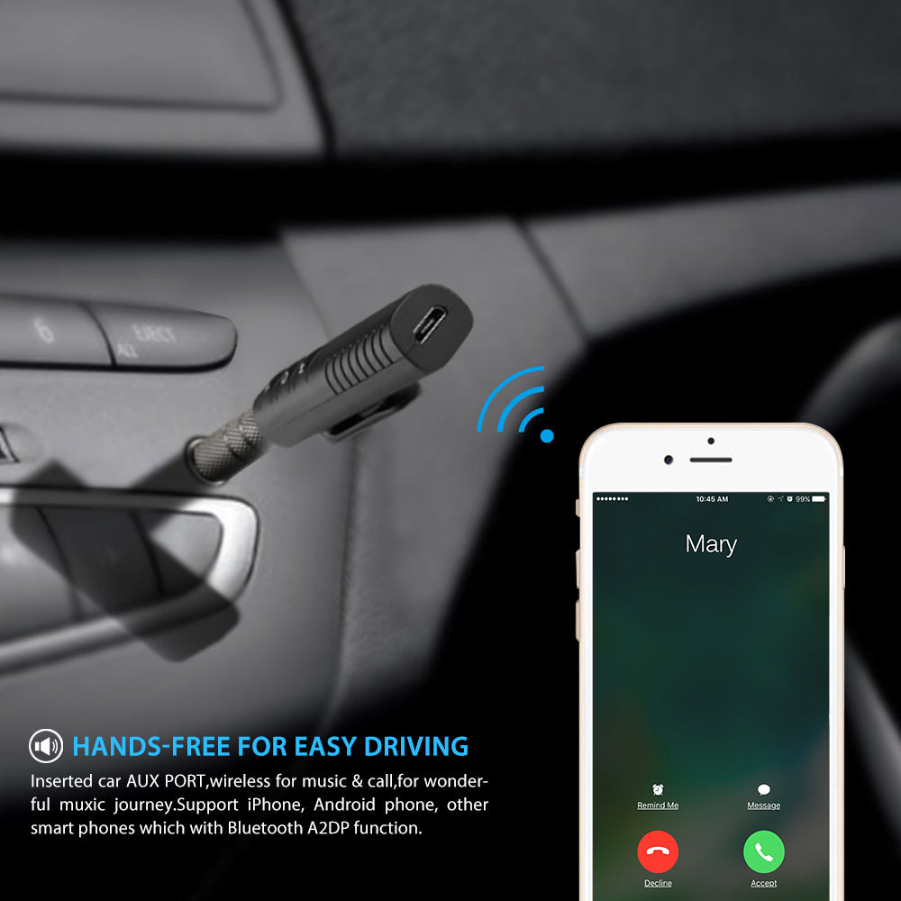 Bluetooth Car Kit Hands free Music Audio Receiver Adapter