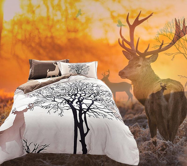 Tree Deer Print Bedding Queen/King size Winter Duvet Cover Set