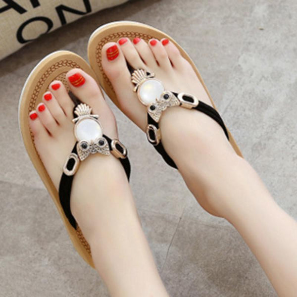 Crystal Owl Flat Sandals