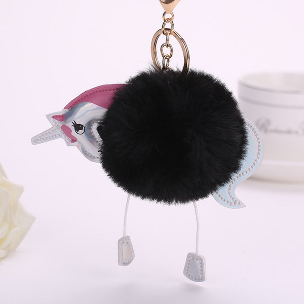 Unicorn Artificial Pompoms Rabbit Fur Keychains V3