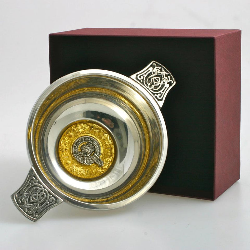 MacLaren Clan Crest Quaich with Gold Trim