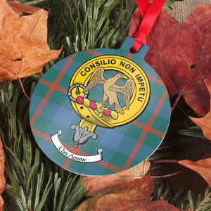 Agnew Clan Crest and Tartan Metal Christmas Ornament - 6 Styles Available