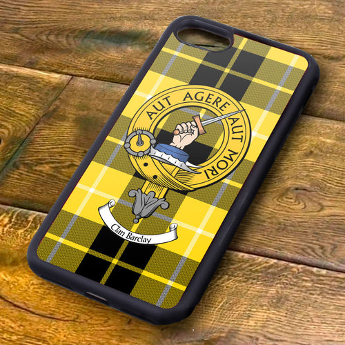 Barclay Tartan and Clan Crest iPhone Rubber Case
