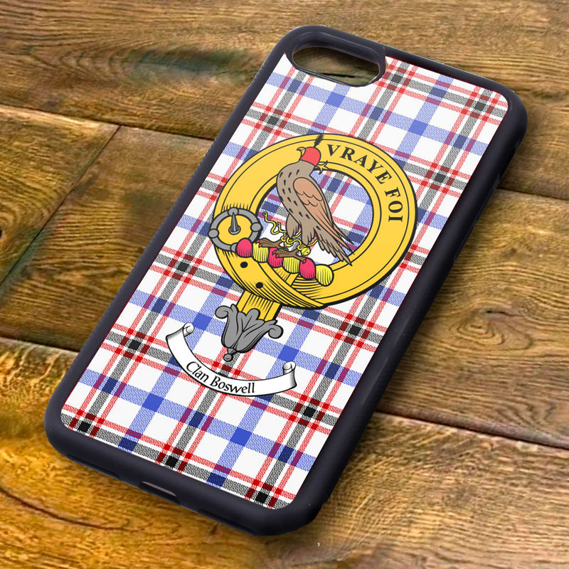 Boswell Tartan and Clan Crest iPhone Rubber Case