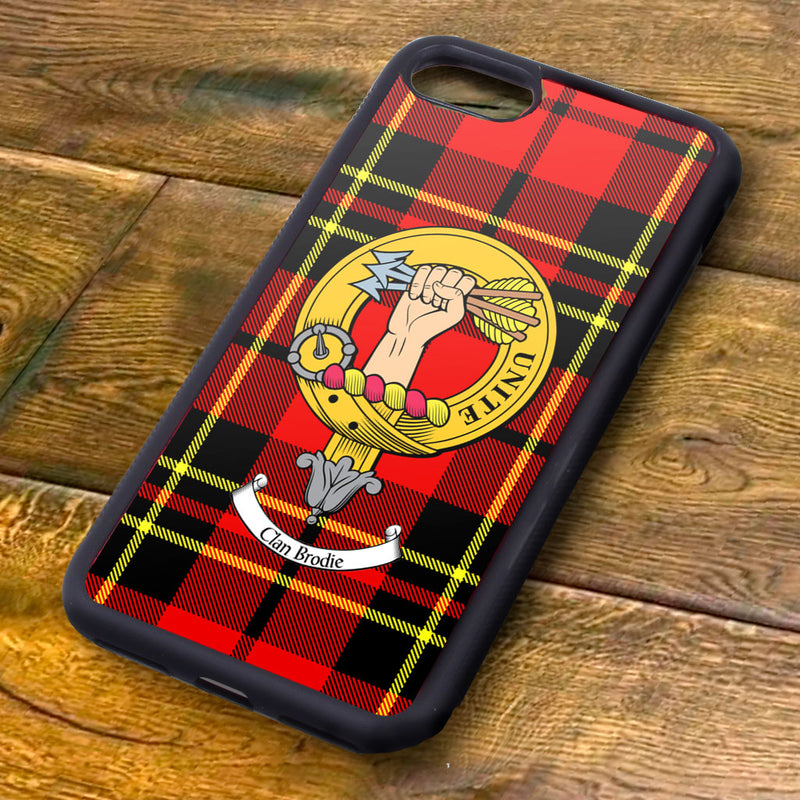 Brodie Tartan and Clan Crest iPhone Rubber Case