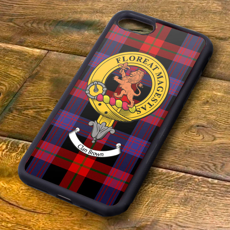 Brown Tartan and Clan Crest iPhone Rubber Case