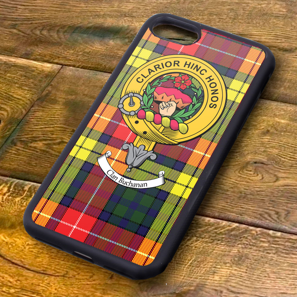 Buchanan Tartan and Clan Crest iPhone Rubber Case