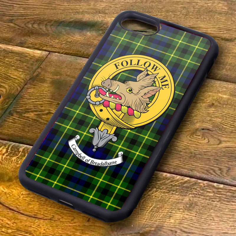 Campbell of Breadalbane Tartan and Clan Crest iPhone Rubber Case