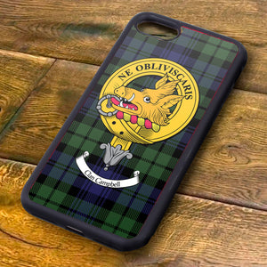 Campbell Tartan and Clan Crest iPhone Rubber Case