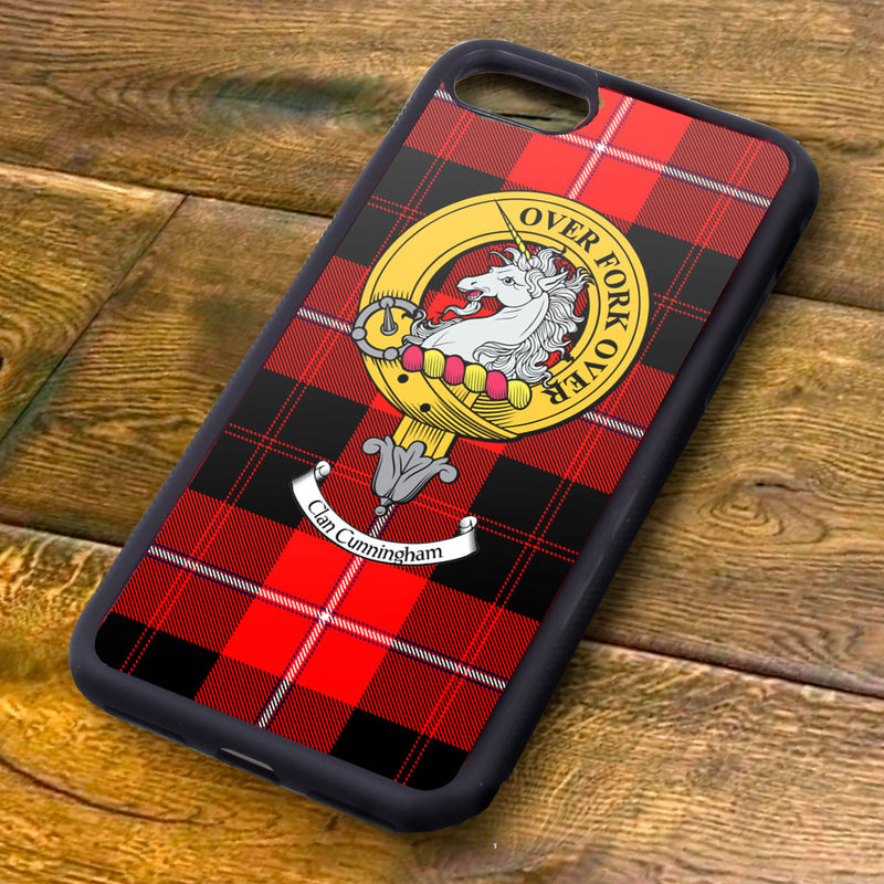 Cunningham Tartan and Clan Crest iPhone Rubber Case