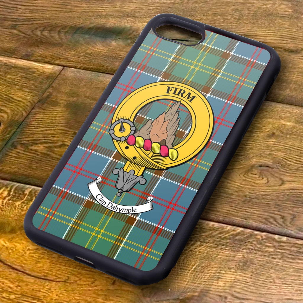 Dalrymple Tartan and Clan Crest iPhone Rubber Case
