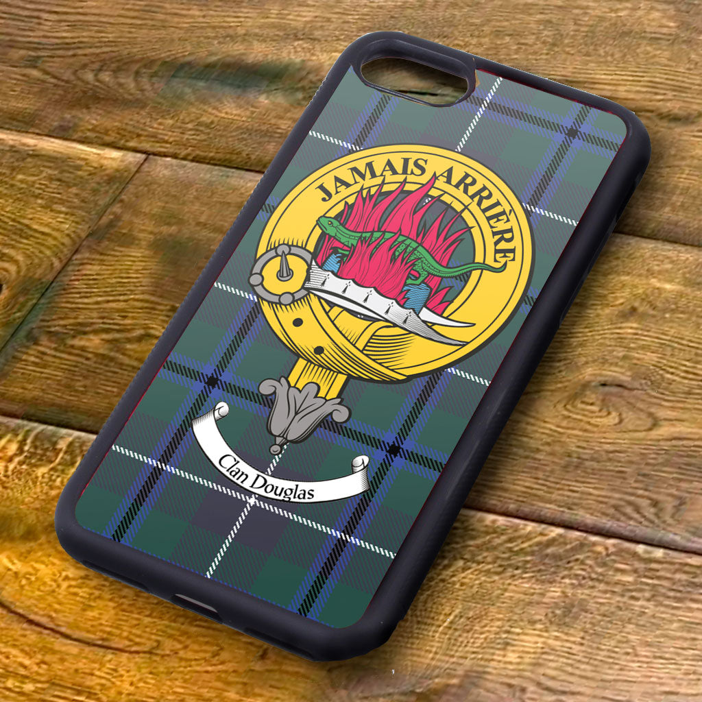 Douglas Tartan and Clan Crest iPhone Rubber Case