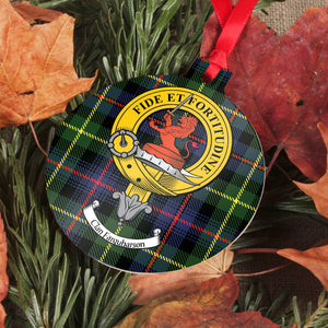 Farquharson Clan Crest and Tartan Metal Christmas Ornament - 6 Styles Available