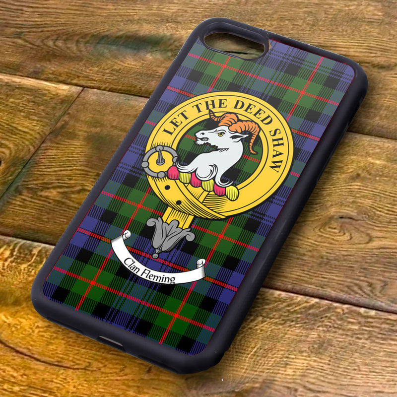 Fleming Tartan and Clan Crest iPhone Rubber Case