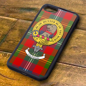 Forrester Tartan and Clan Crest iPhone Rubber Case