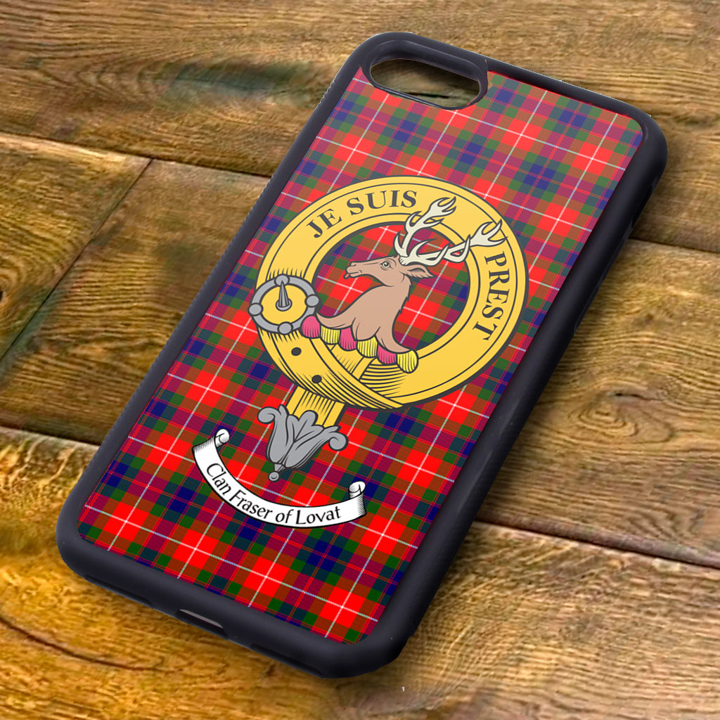 Fraser of Lovat Tartan and Clan Crest iPhone Rubber Case