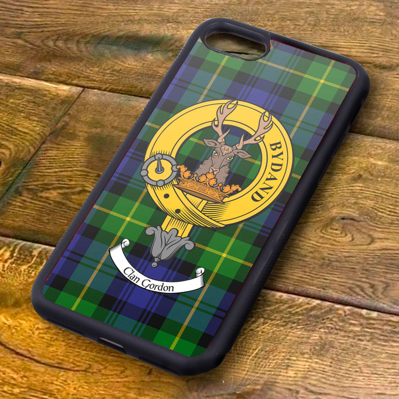 Gordon Tartan and Clan Crest iPhone Rubber Case