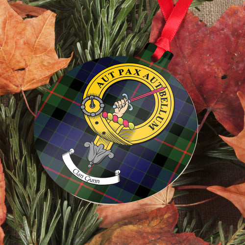 Gunn Clan Crest and Tartan Metal Christmas Ornament - 6 Styles Available