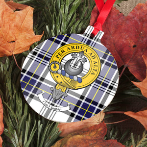 Hannay Clan Crest and Tartan Metal Christmas Ornament - 6 Styles Available