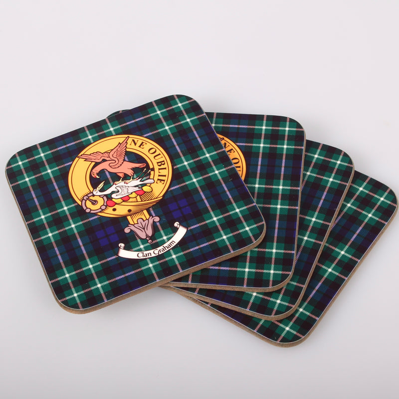 Graham Clan Crest and Tartan Wooden Coaster 4 Pack