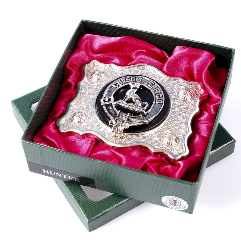 Hunter Pewter Clan Crest Buckle For Kilt Belts