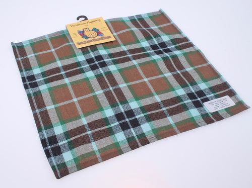 Wool Tartan Pocket Square in Thompson Hunting Tartan