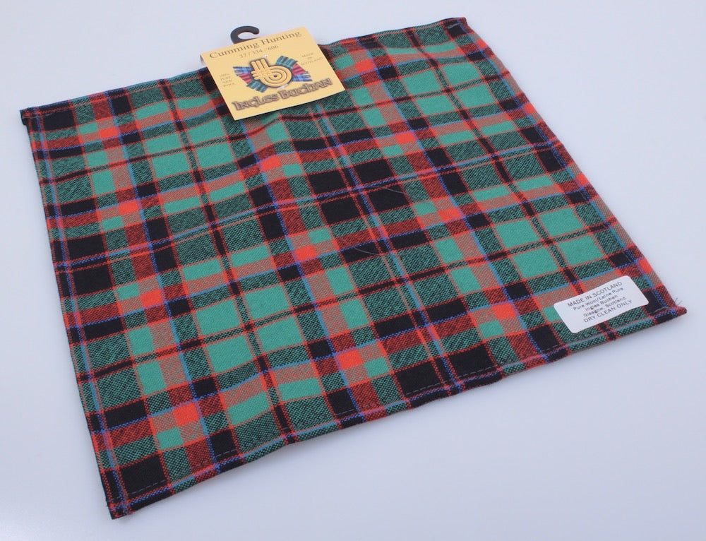 Wool Tartan Pocket Square in Cumming Hunting Ancient Tartan