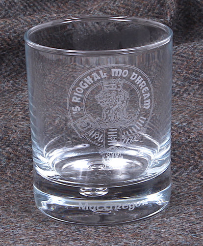 Clan Crest Whisky Glass with MacGregor Crest