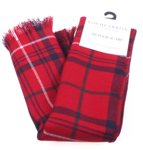 Luxury Lightweight Scarf in Rose Red Modern Tartan