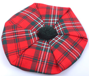 Unisex Wool Tam in Scott Red Modern Tartan