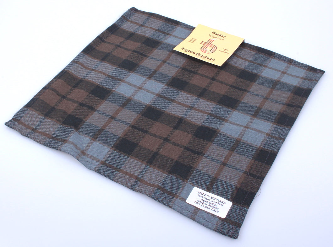 Wool Tartan Pocket Square in MacKay Weathered Tartan