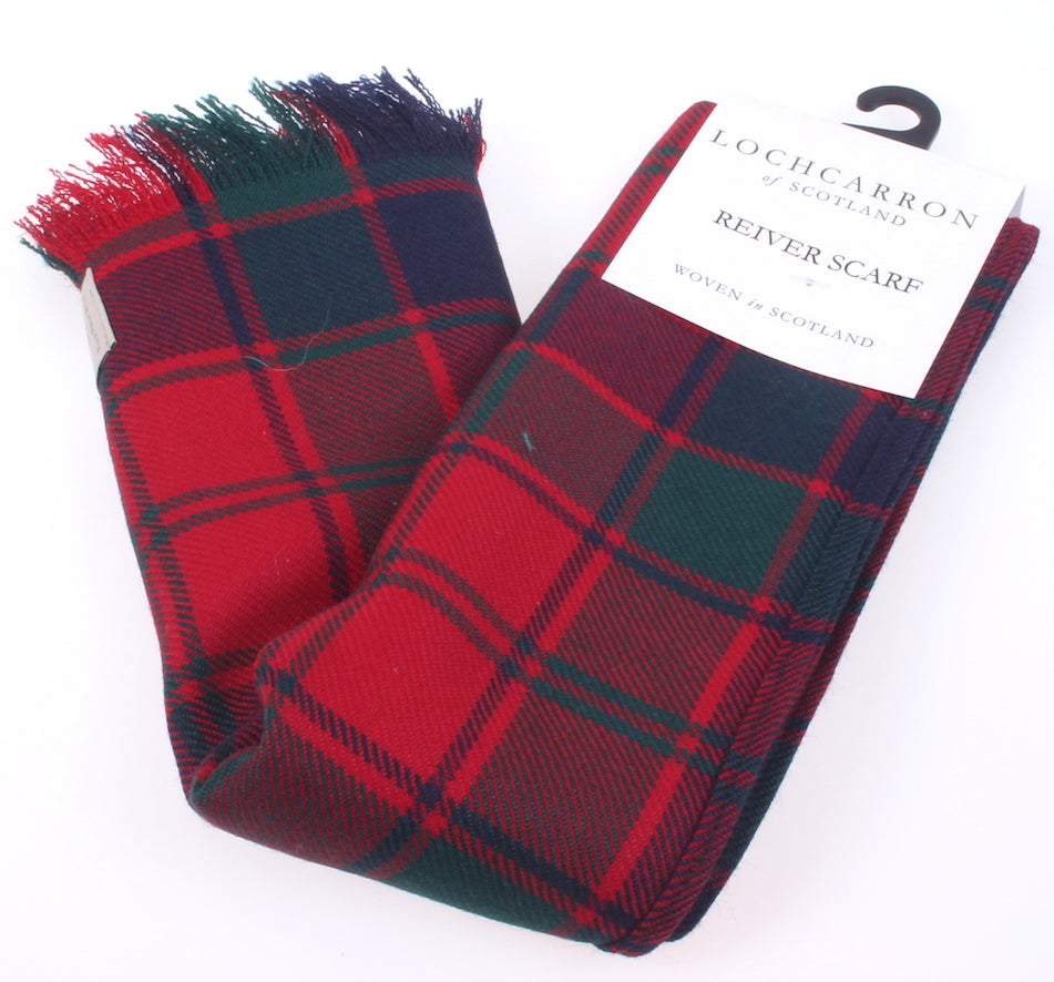 Luxury Lightweight Scarf in Robertson Red Modern Tartan