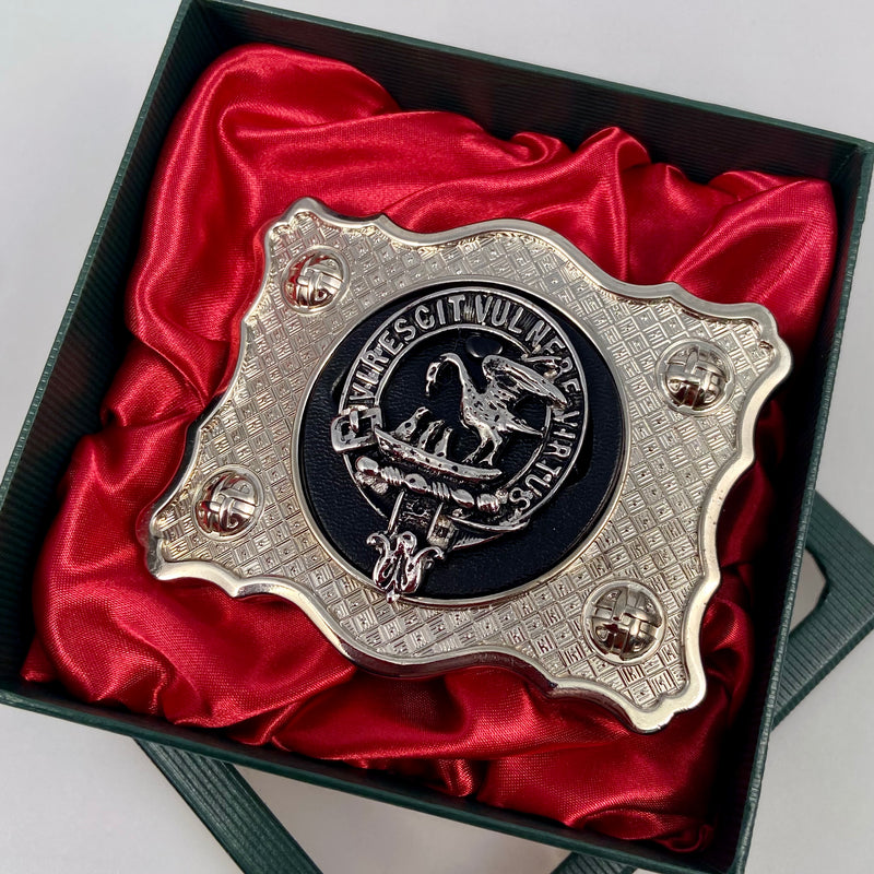 Stewart Pewter Clan Crest Buckle For Kilt Belts