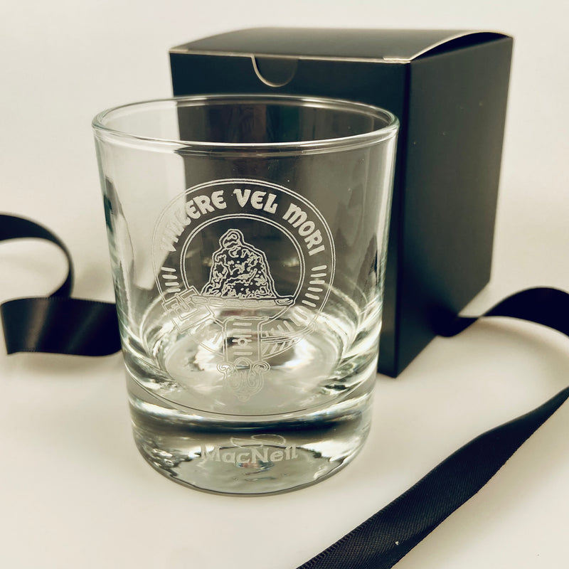 Clan Crest Whisky Glass with MacNeil Crest