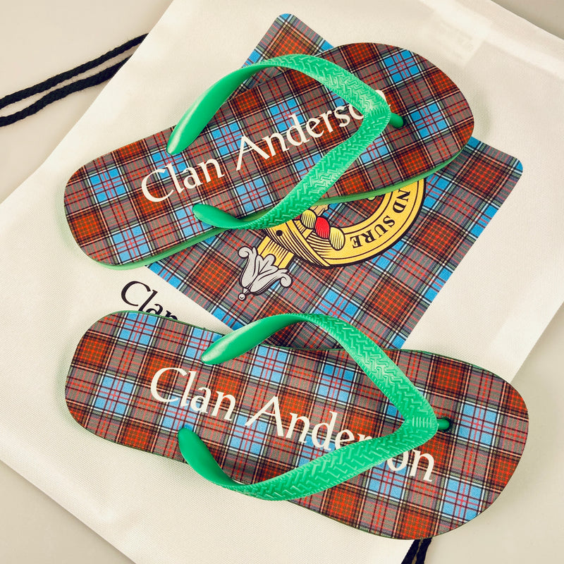 Anderson Tartan Flip Flops With Matching Bag