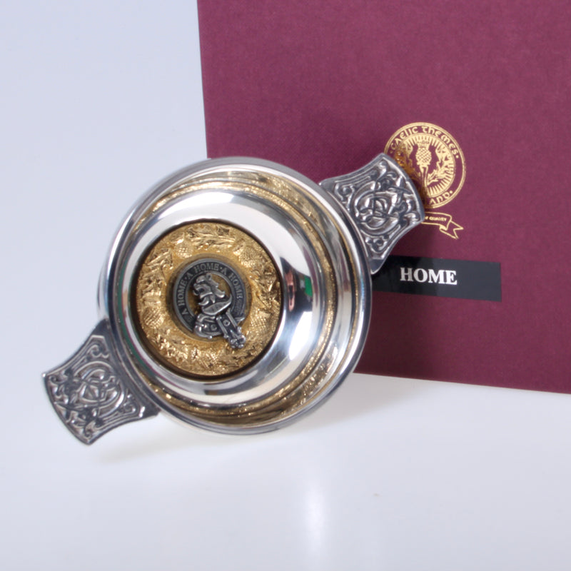 Home Clan Crest Quaich with Gold Trim