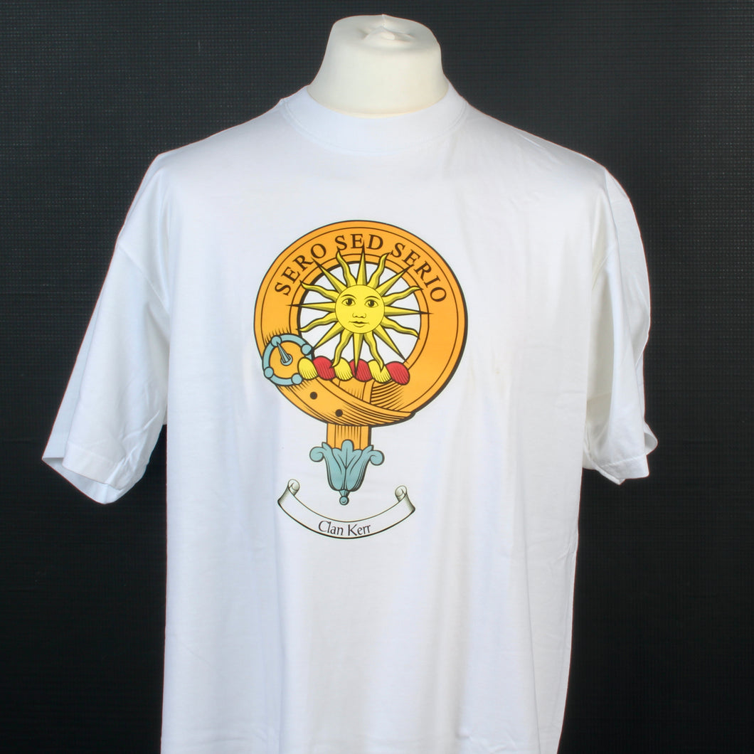 Kerr Clan Crest White T Shirt - Size XL to Clear