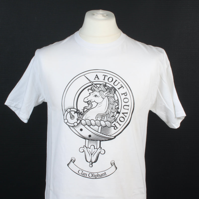 Oliphant Clan Crest White T Shirt - Size Medium to Clear
