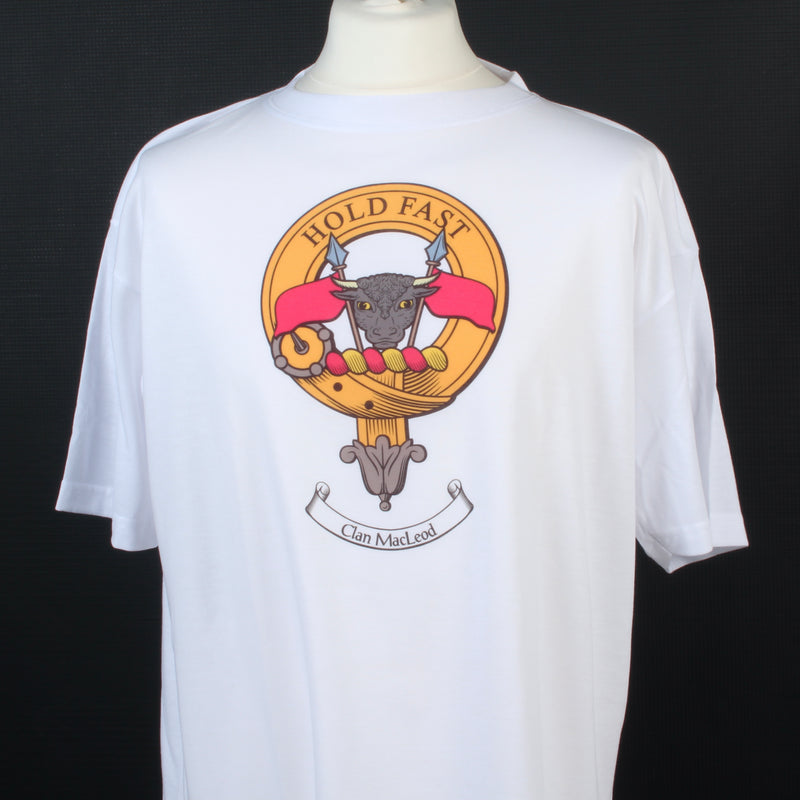 Macleod Clan Crest White T Shirt  - Size XL to Clear