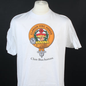 Buchanan Clan Crest White T Shirt  - Size Large to Clear