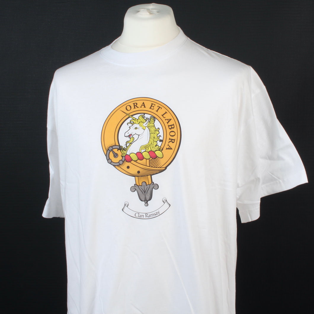 Ramsay Clan Crest White T Shirt  - Size XXL to Clear