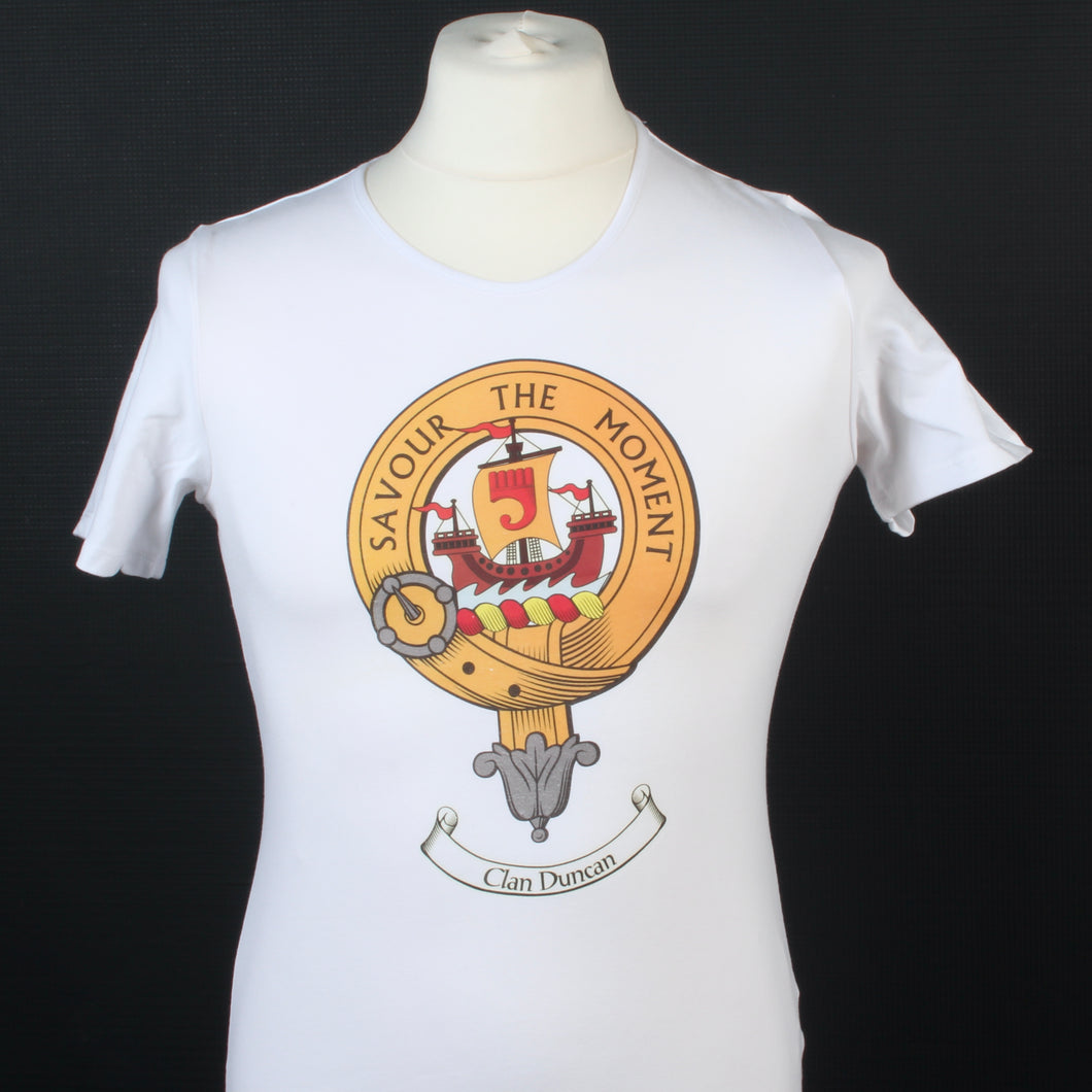 Duncan Clan Crest White T Shirt - Ladyfit  - Size Large to Clear