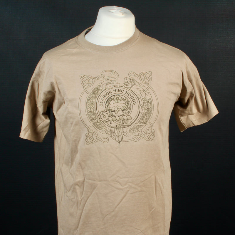 Buchanan Clan Crest Celtic Design T Shirt  - Size Med to Clear