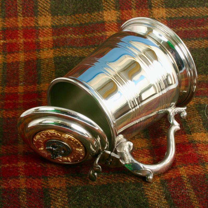 Pewter Tankard With Gold Trim and MacNicol Clan Crest.